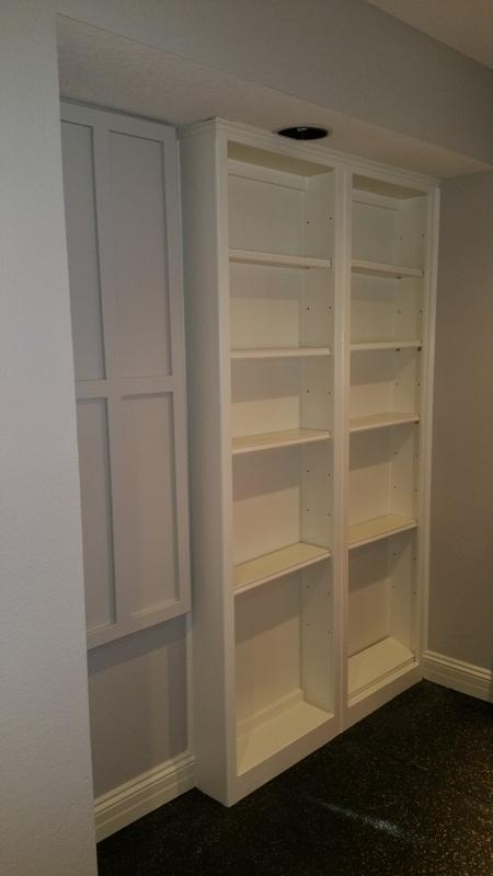 residential interior painting service bookshelf after
