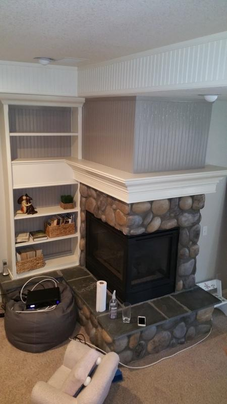 residential interior painting service fireplace after paint wet seal