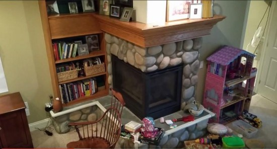 residential interior painting service fireplace before wet seal