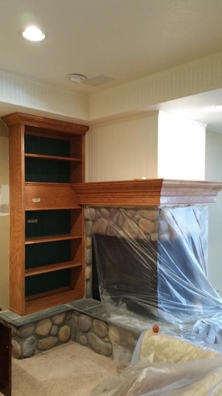 residential interior painting service fireplace before