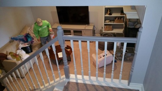 residential interior painting service railings after