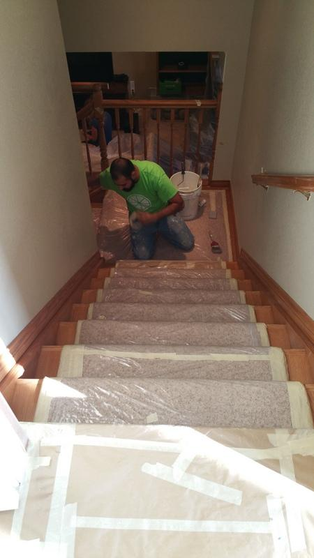 residential interior painting service stairs before