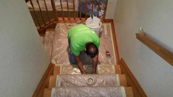 residential interior painting service trim before