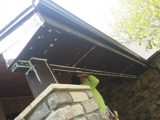 commercial painting company water sealed soffit