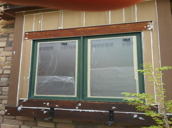 commercial painting company window before