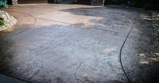 stamped driveway restoration after